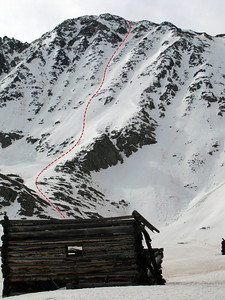 Here's our route marked in red on Fletcher's NW Face.  Another great high 13er descent in the books!