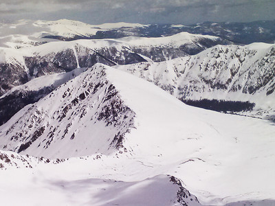 The NW and S faces of Kelso Mountain.  These faces also do not normally hold snow.