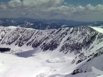 The NW and W face of McClellan Mountain.  These couloirs do not usually hold snow.