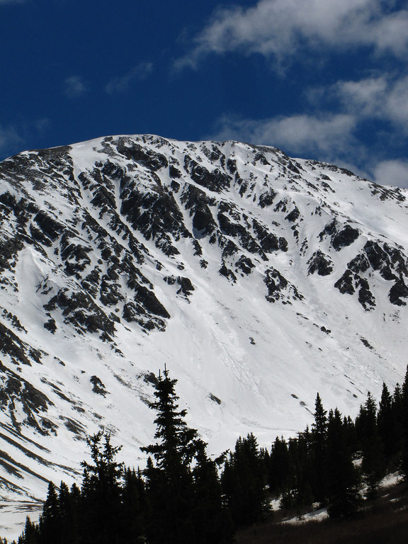 Our objective, as viewed from the summer trailhead in Stevens Gulch.  We had to park some 1.5mi before this, as a large avalanche on the east side of Kelso Mountain had deeply buried the road at some point earlier in the winter.