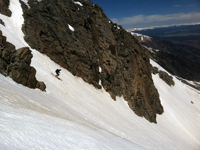 Me dropping into the couloir.  Photo: H.Flinch