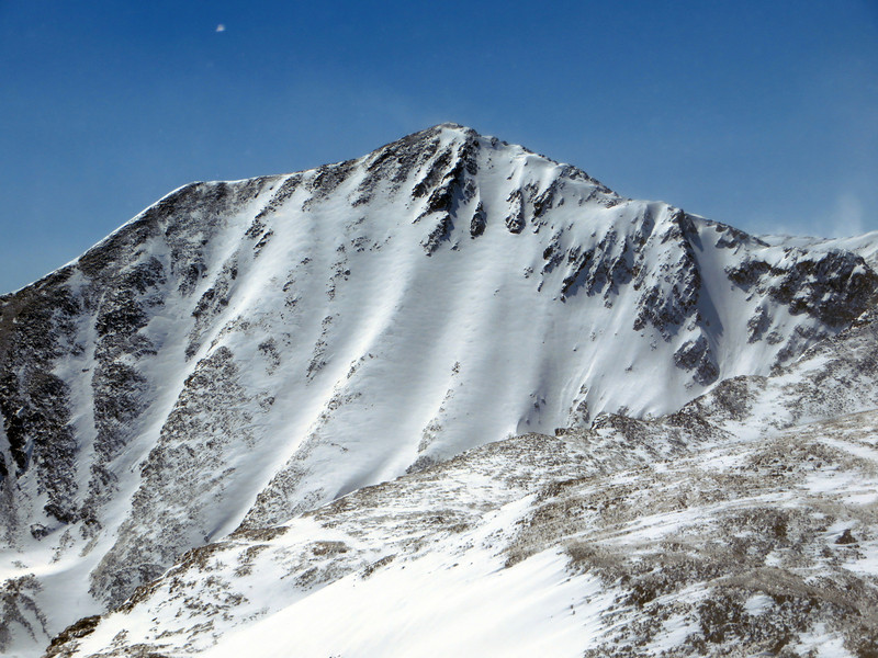 Strong winds ravage this valley throughout the winter, so despite the above average snowfall this season, Democrat's north face was not looking particularly fat.  A few moist spring storms could quickly change that.