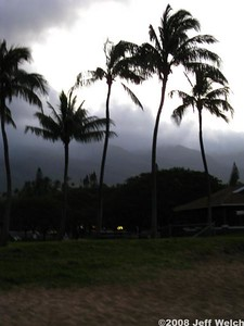 Early morning view of the Mauna Kahalawai (West Maui's mountains).  There was pretty much a cloudbank on top of them the entire trip; the summit of Puʻu Kukui gets over 400 inches of rain per year.