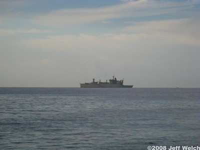 A US Navy ship posted itself just off Lahaina for a few days.  Well, we're assuming it was US Navy, because it was obviously military, but unmarked.