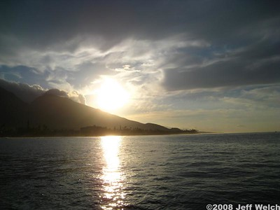 We took a boat out for a snorkeling trip to Lana'i.  The boat left early, providing some good morning light on West Maui.