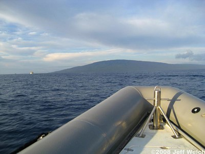 We chose to go on a small boat - basically an oversize raft with an engine.  The island of Lana'i, dead ahead.