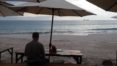 John & I had dinner on the beach two nights, watching sunset
