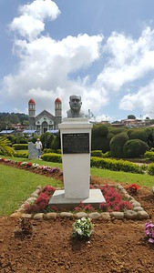 """Bust of Alberto Lizano Hernández   """". . . for your altruism, nobility of your heart and humanitarian spirit """"."""