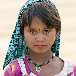 Local Tribes Women In Sam Sand Dunes Near Jaisalmer