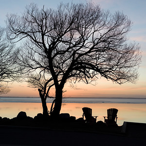 Sunset time at Clear Lake - spring thaw