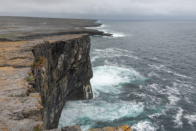 Prehistoric fort of Dún Aonghasa, perched on top of a high cliff.