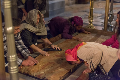 The Stone of Anointing, where Jesus' body is said to have been anointed before burial