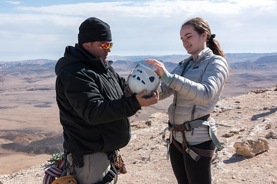 Hannah Rappelling into Ramon Crater