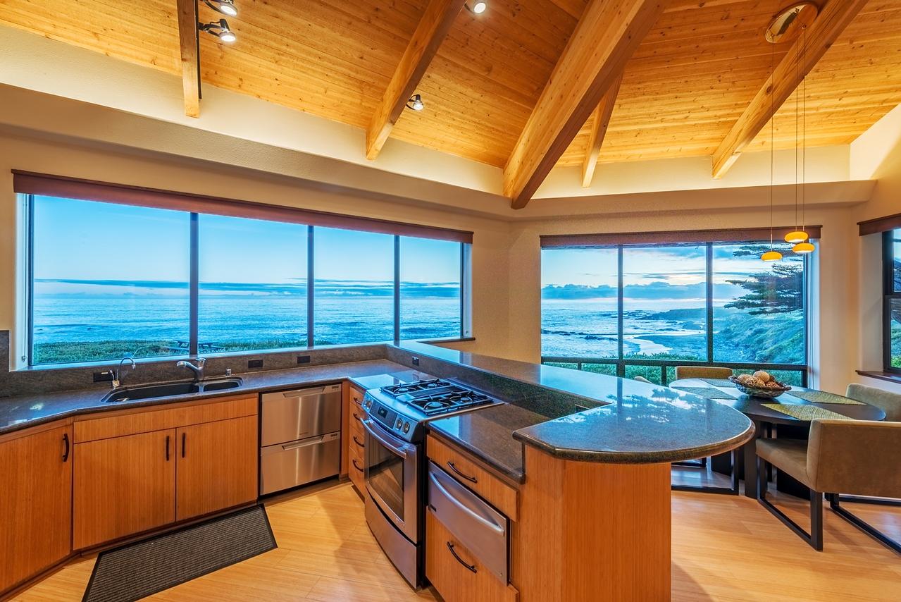 Kitchen with Ocean & Beach Views