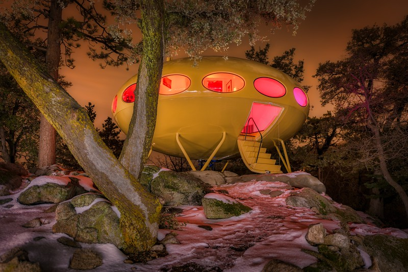 The Futuro House Among the Trees at Night