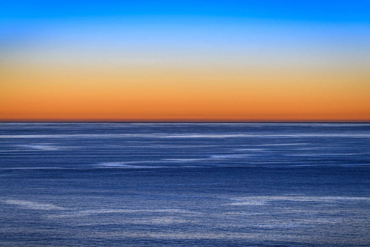 Telephoto View of Ocean at Sunset