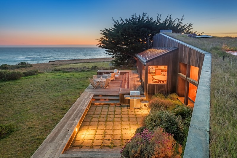 Living Roof House at Twilight
