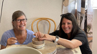 Wendy & Eva learn to make pottery