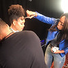 Demetria McKinney and Che Enid on set of 30 Years Of Soul Train
