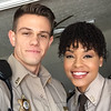 Demetria McKinney and Nick Hagelin on the set of Superstition - October 2017