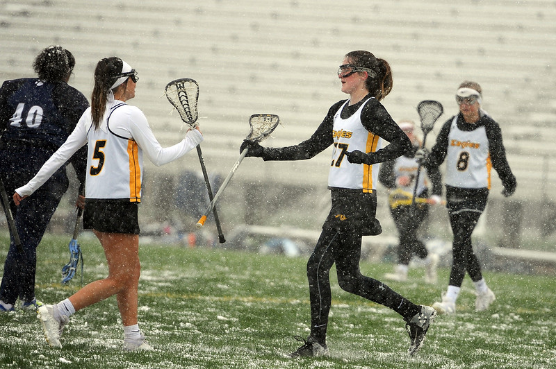 Izzy Shannon, 5, and Annalise Carr celebrate a goal against St. Mary's Academy on Monday, April 29 at Patterson Stadium. Thompson Valley won 8-3. (Colin Barnard/Loveland Reporter-Herald)
