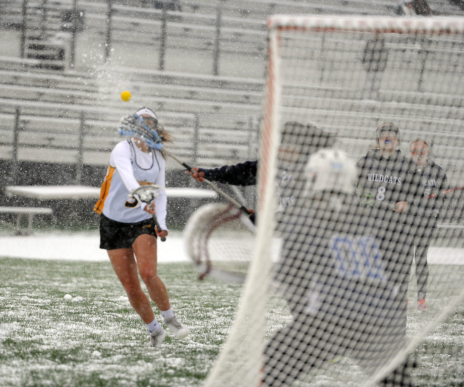 . Izzy Shannon fires a shot on goal against St. Mary\'s Academy on Monday, April 29 at Patterson Stadium. Thompson Valley won 8-3. (Colin Barnard/Loveland Reporter-Herald)