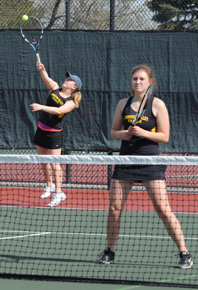 Thompson Valley's #2 doubles players Taleah Toso, left, and Abby Parsons play their match against Mountain View Thursday, May 6, 2016, during 4A regional tennis at Centennial Park in Greeley. (Photo by Jenny Sparks/Loveland Reporter-Herald)