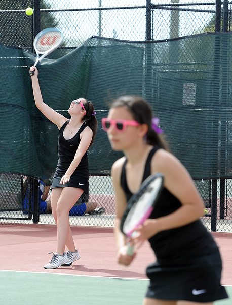 Mountain View's #4 doubles Dusty Bergland, left, and Kali Kelly, right, paly a match Thursday, May 6, 2016, during 4A regional tennis at Centennial Park in Greeley. (Photo by Jenny Sparks/Loveland Reporter-Herald)