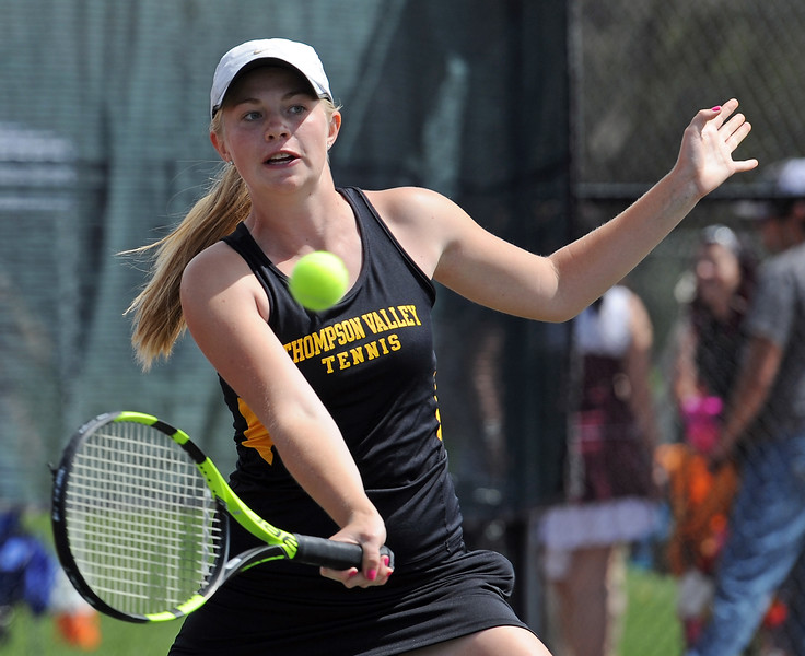 Thompson Valley's #2 singles Maddy Sheets plays against Greeley Central's Lydia Burden Thursday, May 6, 2016, during 4A regional tennis at Centennial Park in Greeley. (Photo by Jenny Sparks/Loveland Reporter-Herald)