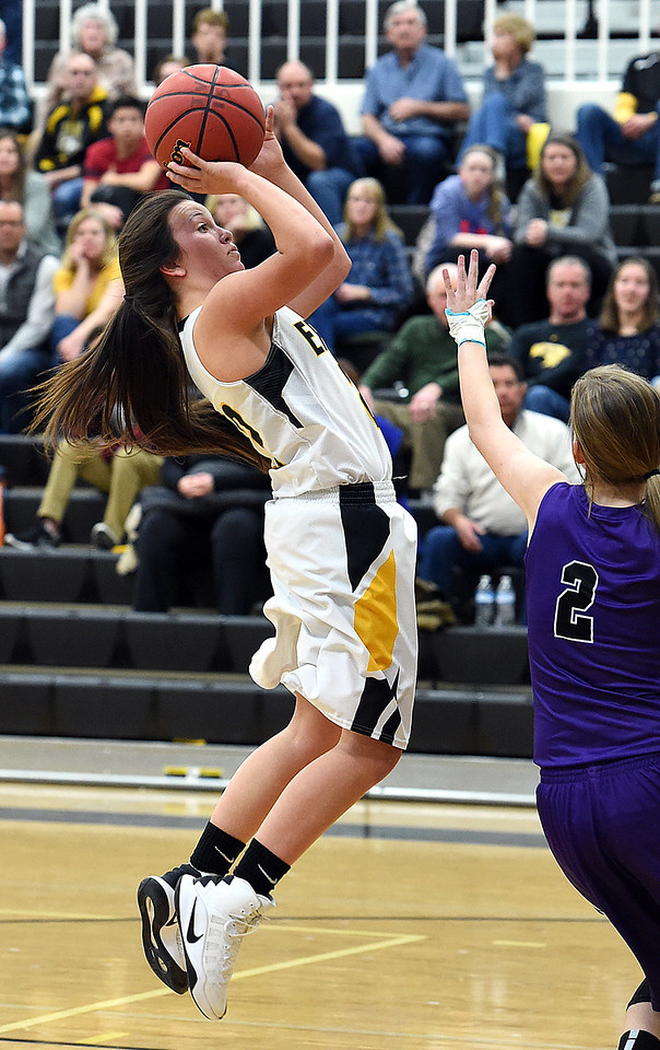Thompson Valley's #22 Katie Seja goes up for a shot during their game against Mountain View Friday, Jan. 27, 2017, at Thompson Valley High School in Loveland.   (Photo by Jenny Sparks/Loveland Reporter-Herald)