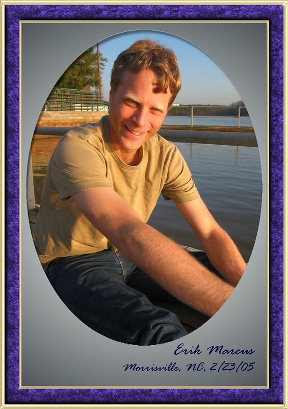 Erik sitting at Lake Crabtree [oval and blue marble frames, gradient fill, text]