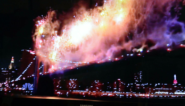 Fireworks from NYC on TV