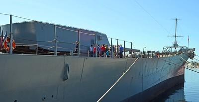 Climbing the Ramp to Board the USS IOWA