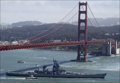 Final Voyage under the Golden Gate Bridge to Mothball Fleet, Suisin Bay