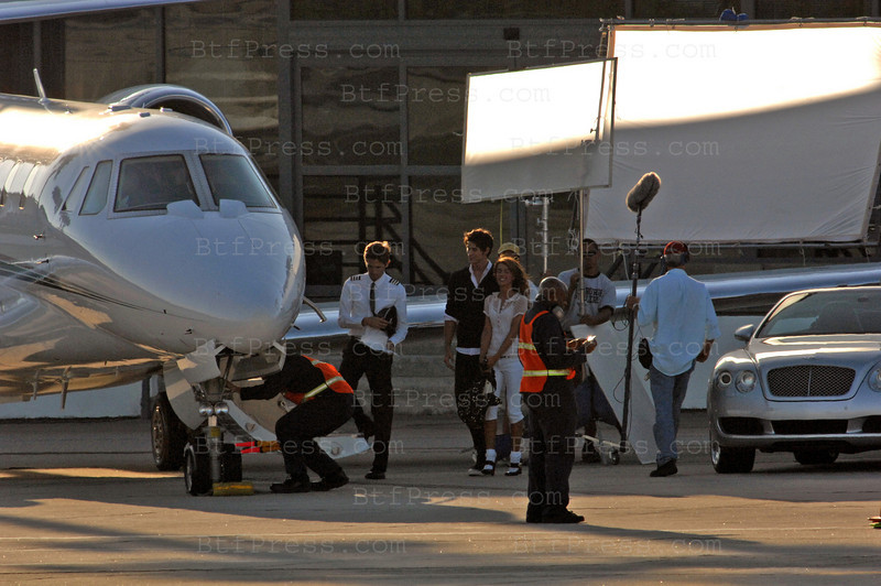 "EXCLUSIVE-Set of the TV Serie ""90210""  in Santa Monica Airport with Actress Shenae Grimes and Actor Ryan Eggold. Santa Monica on August 7,2008."