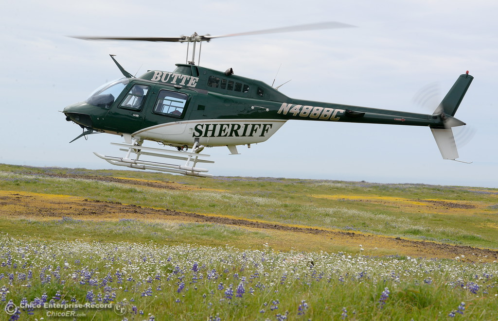 . The Butte County Sheriff\'s helicopter was used to transport an injured hiker at Table Mountain in Oroville, Calif. Thursday April 5, 2018.  (Bill Husa -- Enterprise-Record)