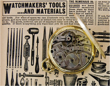 I chose a page from a  Sears catalog from 1902 as a background for the watch shots.