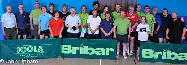 Players from Alençon and Basingstoke celebrate after a very hot and humid afternoons table tennis
