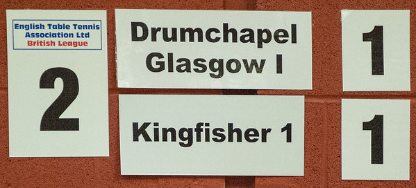 Match on table 2: Drumchapel Glasgow 1 vs Kingfisher 1