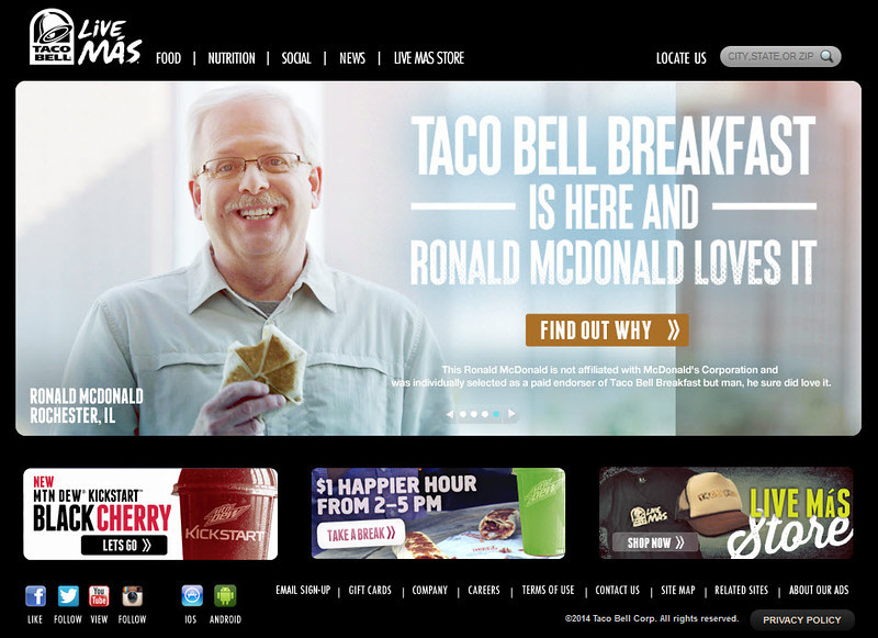 This photo of me ran on the home page of Taco Bell's website during their campaign to introduce new breakfast items.