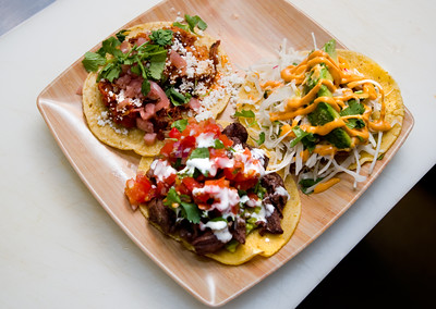Tacos with braised pork belly, grilled steak and red snapper fish are served at T/ACO in Boulder. For more photos go to www.dailycamera.com (Autumn Parry/Staff Photographer) May 18, 2016