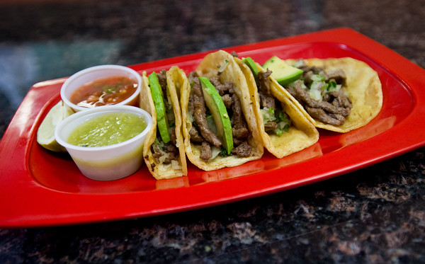 """An order of tacos with azada, onions, cilantro and avocado at Benny's Tacos in Longmont.<br /> For more photos go to  <a href=""""http://www.dailycamera.com"""">http://www.dailycamera.com</a><br /> (Autumn Parry/Staff Photographer)<br /> May 18, 2016"""