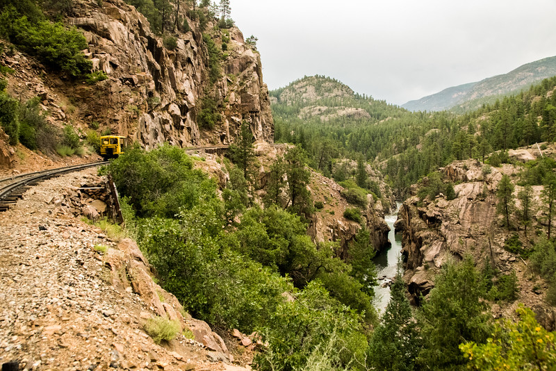 Our motorcar sits high above the Animas River.