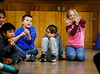 BENNINGTON BANNER Second graders, Miles Kipp, Maverick Pratt, and Katerina Leonetti try their hand at some interpretive dancing while listening to a classical music piece preformed by The Taconic Chamber Players on Friday afternoon at Monument Elementary school.