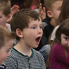 "HOLLY PELCZYNSKI - BENNINGTON BANNER First grader John Trafton jaw drops while listening to classical music created by the Taconic Music players out of Manchester , on Tuesday at Monument Elementary School in Bennington. The visit from the Manchester based group is part of a educational series called "", Taconic Music in Action"" teaching students the joy of music through education and concerts."