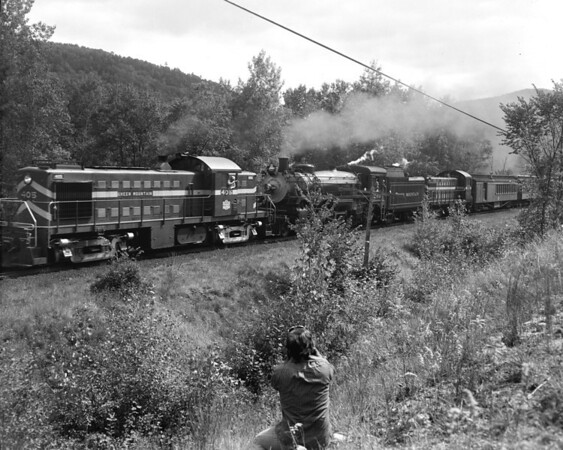 #1246 plus 2 diesels. First diesel returned from Chester to Bellows Falls with half of train. #1246 and #303 went on to Rutland.  TAA-ST-037-1_K