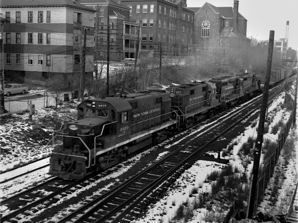 NYC-Worcester, MA, Grand St, near Crompton & Knowles, freight trains west