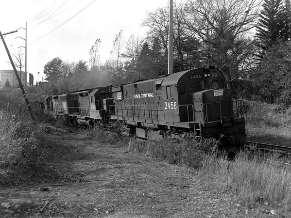 Penn Central - Worcester MA Burncoat St crossing. Detoured c/o wreck in Rochdale, MA.