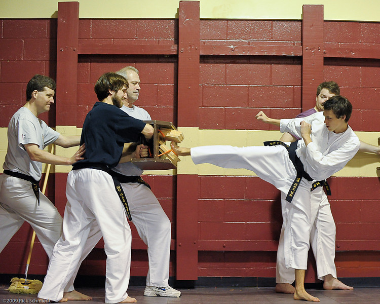 Four inch break for 3rd degree blackbelt test.  World Tae Kwondo Association.  Southeast chapter, Isle of Palms, SC.