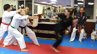Taylor 1st Degree Black Belt Breaking (Skipping Side Kick 4 Boards)